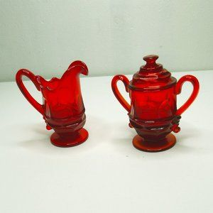 Vintage Fostoria Glassware Creamer & Sugar Bowl